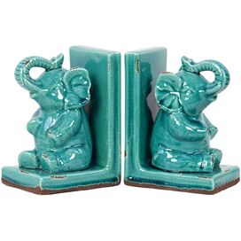 Sitting Elephant Bookends in Turquoise