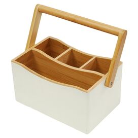 Bamboo Utensil Caddy in Off White