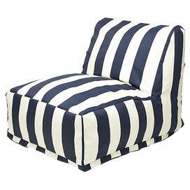 Ella Indoor/Outdoor Beanbag Chair in Navy Blue & White