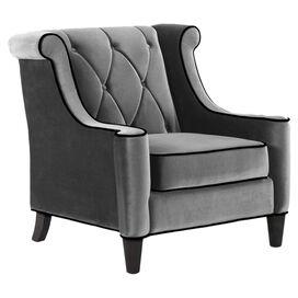Barrister Velvet Arm Chair in Grey
