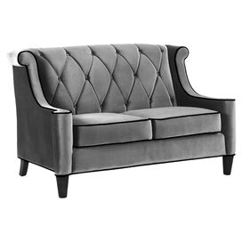 "Barrister 60"" Velvet Loveseat in Grey"