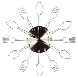 Flatware Wall Clock in Chrome