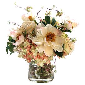 Faux Peony & Rose in Glass Vase