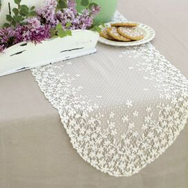 Blossom Lace Table Runner in White