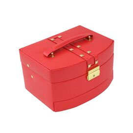Charlotte Leather Jewelry Box in Red