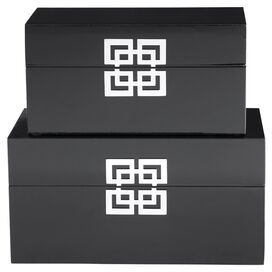 2-Piece Shanghai Trinket Box Set in Black