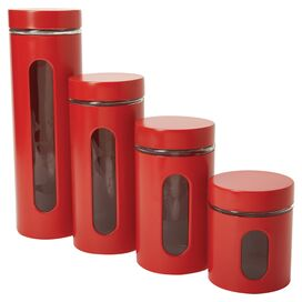 4-Piece Preston Canister Set in Red
