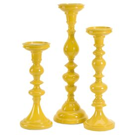 3-Piece Alessa Candleholder Set in Yellow