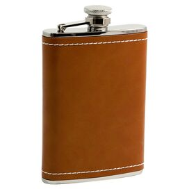 Liza Stainless Steel & Leather Flask in Brown