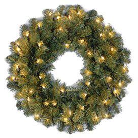 Faux Kincaid Spruce Wreath Pre-Lit in Clear