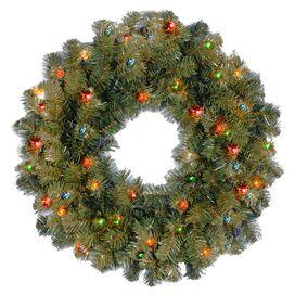 Faux Kincaid Spruce Wreath Pre-Lit in Multicolor