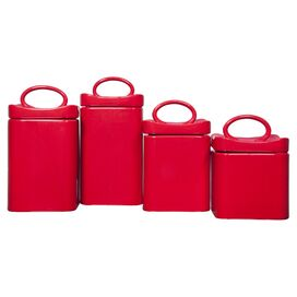 4-Piece Averill Canister Set in Red