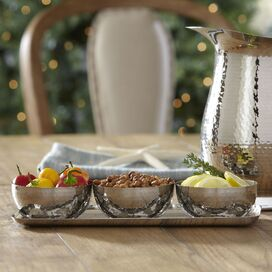4-Piece Tia Stainless Steel Dip Bowl & Tray Set