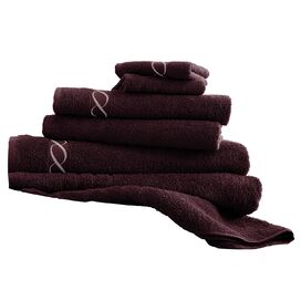 6-Piece Embroidered Egyptian Cotton Towel Set in Coral