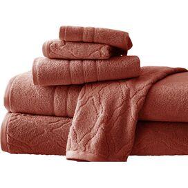 6-Piece Jacquard Egyptian Cotton Towel Set in Marsala