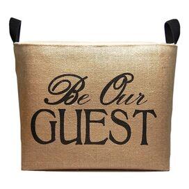 Be Our Guest Burlap Storage Basket