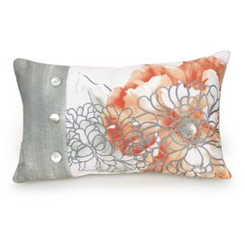 Golden Peony Floral Embroidered Decorative Cotton Lumbar Pillow