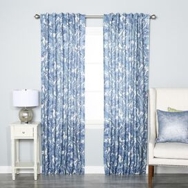 Blue Paisley Rod Pocket Curtain Panel (Set of 2)