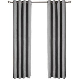 Faux Suede Blackout Grommet Curtain Panel in Grey (Set of 2)