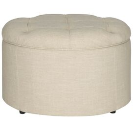 Caitlin Tufted Storage Ottoman in Wheat