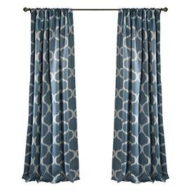 Trellis Pattern Blackout Rod Pocket Curtain Panel (Set of 2)