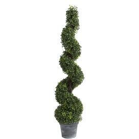 Faux Spiral Boxwood Topiary