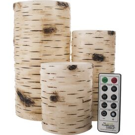 3-Piece Birch Bark Flameless Candle Set