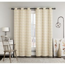 Diamond Grommet Curtain Panel in Gold (Set of 2)