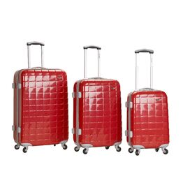3-Piece Elite Rolling Luggage Set in Red