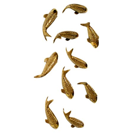 Koi wall decor in gold leaf set of 10 just add accents for Koi fish metal art