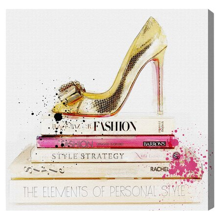 Gold Shoe & Fashion Books Canvas Print, Oliver Gal