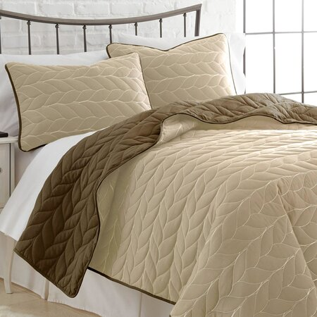 3-Piece Kayla Coverlet Set in Brown & Sand