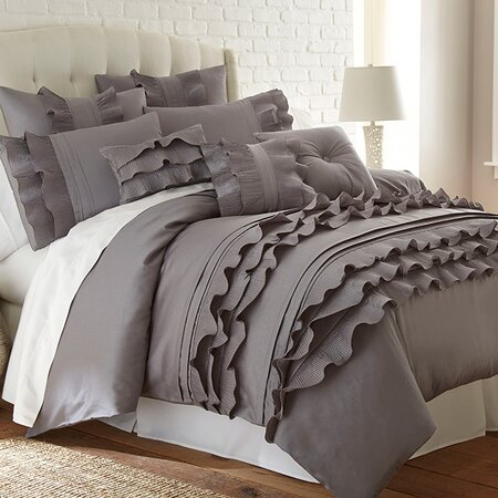 Stacia Duvet Cover Set in Platinum