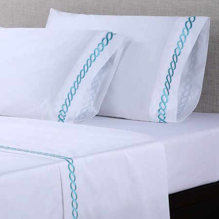 600 Thread Count Embroidered Cotton Sheet Set in White & Pool Blue