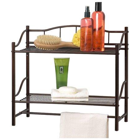 Towel Rack & Wall Shelf in Pearl Nickel