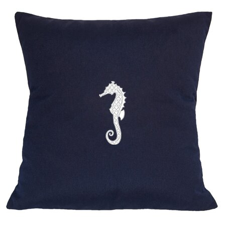 Seahorse Indoor/Outdoor Sunbrella Throw Pillow in Navy