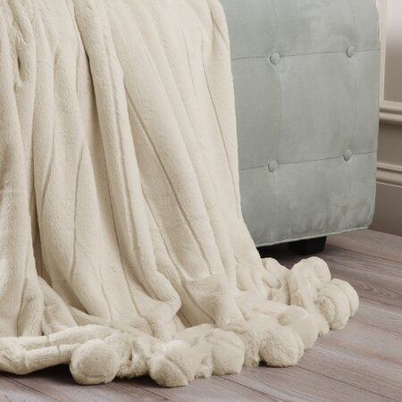 Luxe Mink Faux Fur Pom Pom Throw Blanket