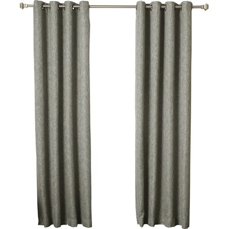 Faux Linen Blackout Grommet Curtain Panel in Green (Set of 2)
