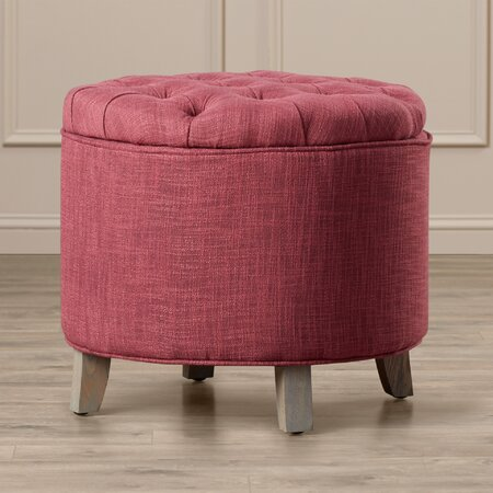 Leslie Tufted Storage Ottoman in Stone