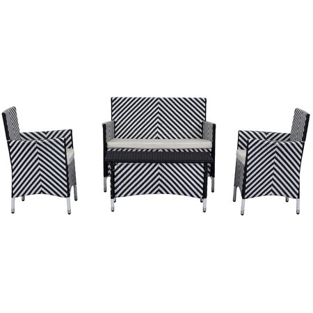 4-Piece Figueroa Patio Seating Group in Black & White